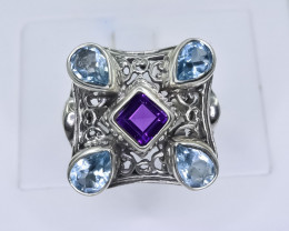 47.28 Crt Natural Amethyst And Topaz 925 Silver Ring ( RK 01 )