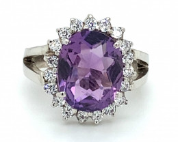 Amethyst 5.03ct Solid 925 Sterling Silver Cocktail Ring