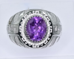 45.15 Crt Natural Amethyst 925 Silver Ring ( RK 01 )