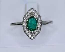 13.18 Crt Natural Emerald 925 Silver Ring ( RK 01 )