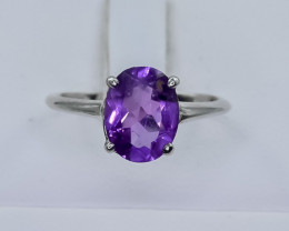 8.56 Crt Natural Amethyst 925 Silver Ring ( RK 01 )