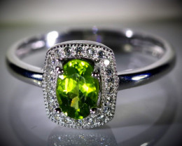 Peridot 1.14ct White Gold Finish Solid 925 Sterling Silver Ring