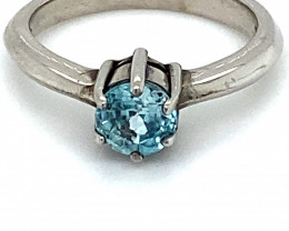 Blue Zircon 1.40ct Solid 925 Sterling Silver Ring
