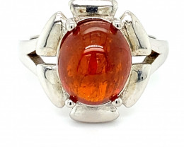 Spessartine Garnet 10.75ct Platinum Finish Solid 925 Sterling Silver Ring