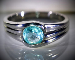 Blue Apatite .60ct Platinum Finish Solid 925 Sterling Silver Ring