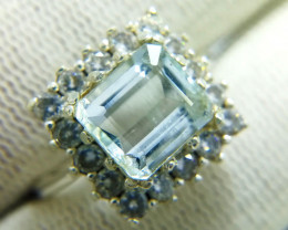Natural Light Blue Aquamarine 925 Sterling Silver Ring