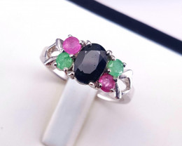 Natural emelrad,ruby and sapphire ring.