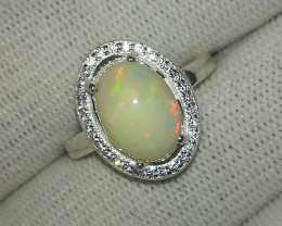 Natural Fire Opal 16.90 Carats 925 Silver CZ Ring