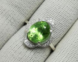 Natural Green Peridot Rutile 20.00 Carats 925 Silver CZ Ring