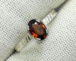 Natural Hessonite Garnet 6.80 Carats 925 Silver Ring