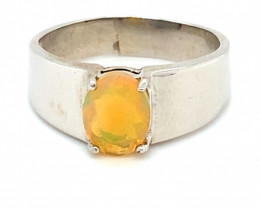 Welo Opal 1.23ct Platinum Finish Solid 925 Sterling Silver Ring