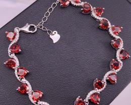 Beautiful Natural Garnet Bracelet and Zircon