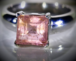 Rubellite 2.80ct Platinum Finish Solid 925 Sterling Silver Ring