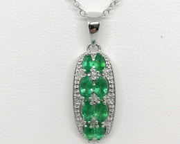 AAA Emerald And Diamond Pendant With Chain 0.87 TCW