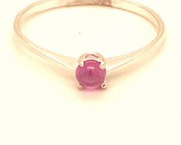 Pink Sapphire .45ct Platinum Finish Solid 925 Sterling Silver Ring