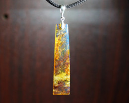 Excellent Dominican Natural Orange Blue Amber .925 Sterling Silver Pendant