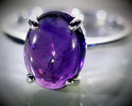 Amethyst 3.82ct Platinum Finish Solid 925 Sterling Silver Ring