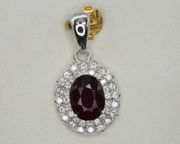 Natural Garnet, CZ and 925 Silver Pendant, Elegant Design