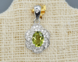 Natural Peridot, CZ and 925 Silver Pendant, Elegant Design