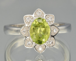 Natural Peridot , CZ and 925 Silver Ring