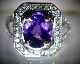 Amethyst 2.42ct Platinum Finish Solid 925 Sterling Silver Ring