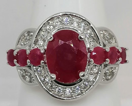 Ruby And Zircon Ring 4.15 TCW