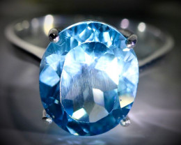 Blue Topaz 9.40ct Platinum Finish Solid 925 Sterling Silver Ring