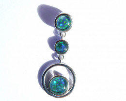 Bright Australian Triplet Opal and Sterling Silver Pendant (3516)