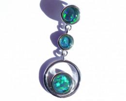 Retro Style Australian Gem Grade Triplet Opal and Sterling Silver Pendant