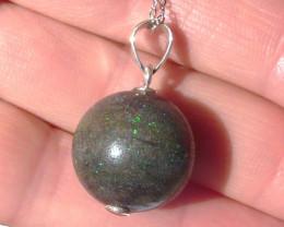 Quality Australian Andamooka Matrix Opal and Sterling Silver Pendant (z3526
