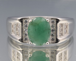 Natural Emerald, CZ and 925 Silver Ring [Man]