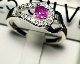 Natural Ruby With CZ in Silver 925 Ring