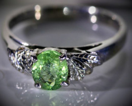 Green Tourmaline .70ct Platinum Finish Solid 925 Sterling Silver Ring
