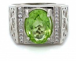 Peridot 4.00ct White Gold Finish Solid 925 Sterling Silver Ring