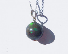 Pretty Australian Andamooka Matrix Opal and Sterling Silver Pendant (z3529)
