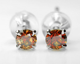 18k White Gold 0.55 Gram 0.44 Cts Red Diamond Earrings