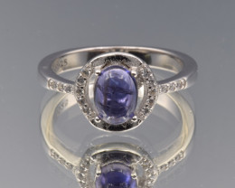 Natural Iolite, CZ and 925 Silver Ring