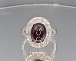 Natural Garnet, CZ and 925 Silver Ring