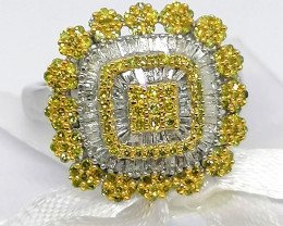 Natural Yellow And White Diamond Ring 1.00 TCW