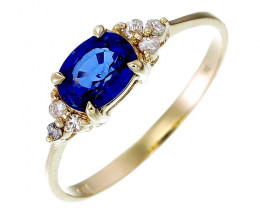 9k Yellow Gold 2.00 Gram 0.95 Cts Blue Sapphire White Diamond Rings