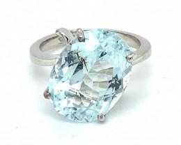 Aquamarine 10.25ct Solid 18K White Gold Ring