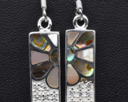 Natural Paua Shell (Abalone), CZ and 925 Silver Earrings