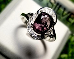 19ct Natural Spinel Purplish Pink color 925 Sterling Silver Ring for Women.