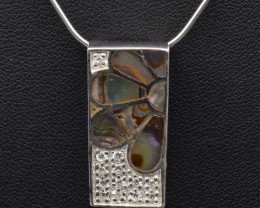 Natural Paua Shell (Abalone) and 925 Silver Necklace