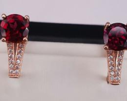 Natural Rhodolite Garnet and CZ Earrings