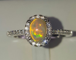 Natural Opal and CZ Ring