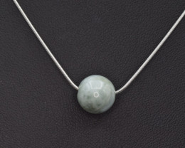 Natural Jadeite Beads with Silver Necklace