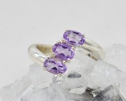 AMETHYST RING 925 STERLING SILVER NATURAL GEMSTONE JR175