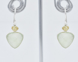 PREHNITE AND LEMON QUARTZ EARRINGS 925 STERLING SILVER NATURAL GEMSTONE JE2