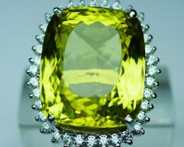 92.5  Stylish Lemon Quartz  Silver Ring Yellow 0001